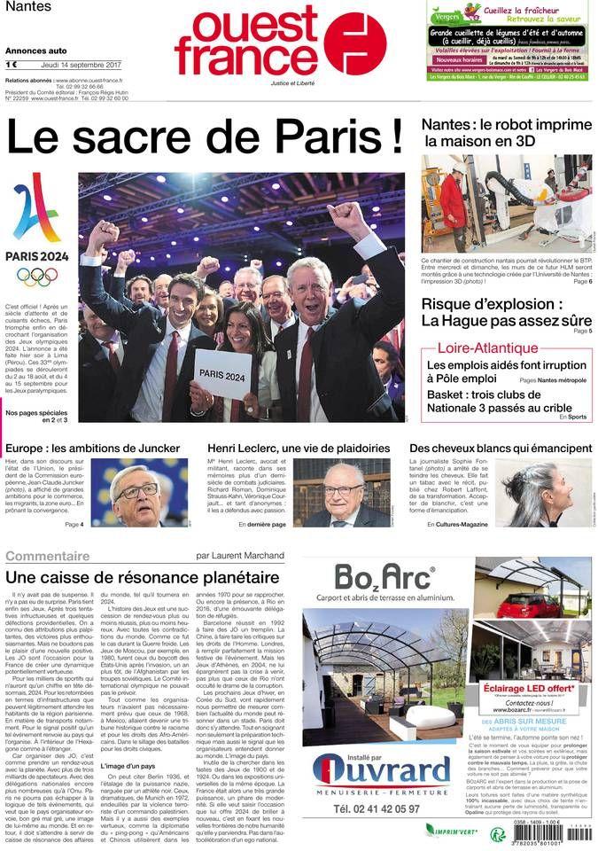Ouest france settembre 2017