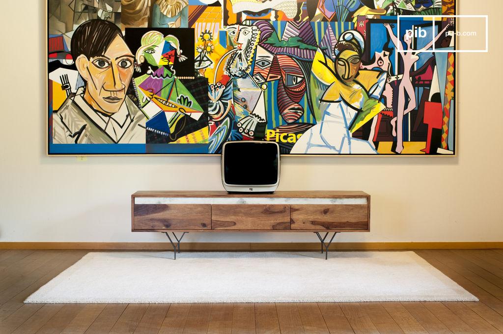 Mobile tv mabillon marmo bianco legno scuro shisham pib for Mobile tv scandinavo