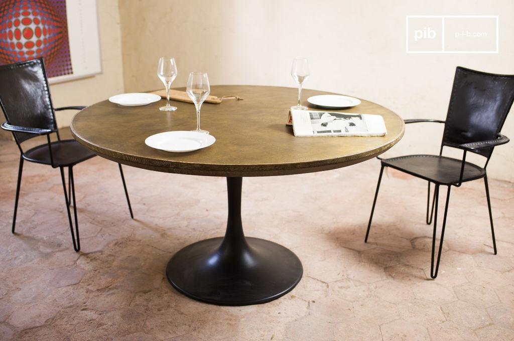 Tavolo rotondo liverpool 100 quercia e ottone pib for Tavolo rotondo da pranzo