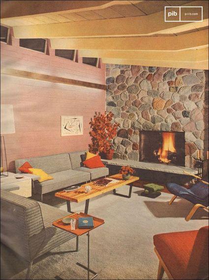 1953 Soggiorno moderno con camino in pietra - scansione di Better Homes and Gardens.