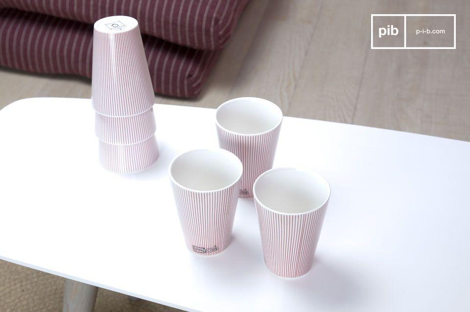 Godetevi questo elegante set di tazze in porcellana e date un tocco sobrio e sofisticato alla vostra