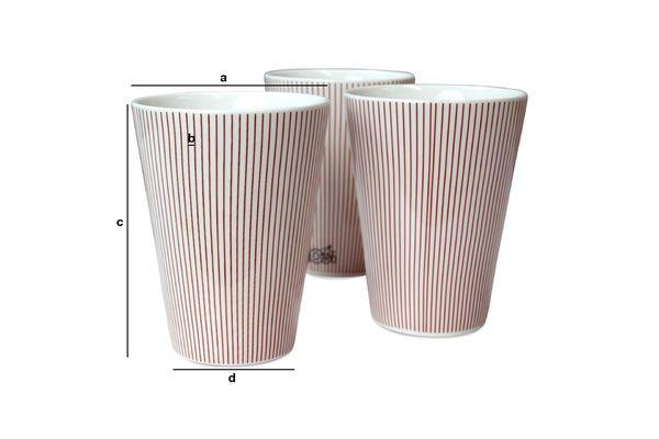 Dimensioni del prodotto 6 tazze Teli