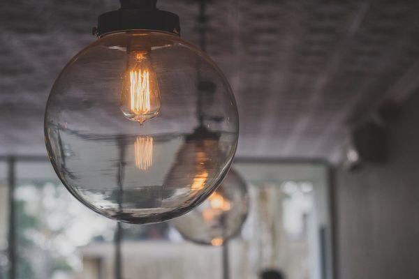 An industrial vintage light bulb