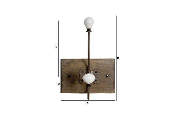 Dimensioni del prodotto Appendiabiti con doppio gancio in ceramica