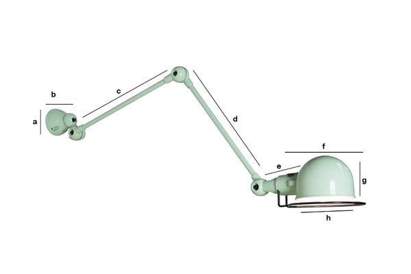 Dimensioni del prodotto Applique Jieldé Signal vert d'eau