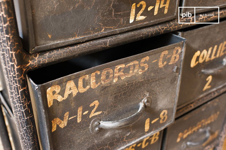 Cassettiera da officina con 10 cassetti pib for Cassettiera industriale vintage