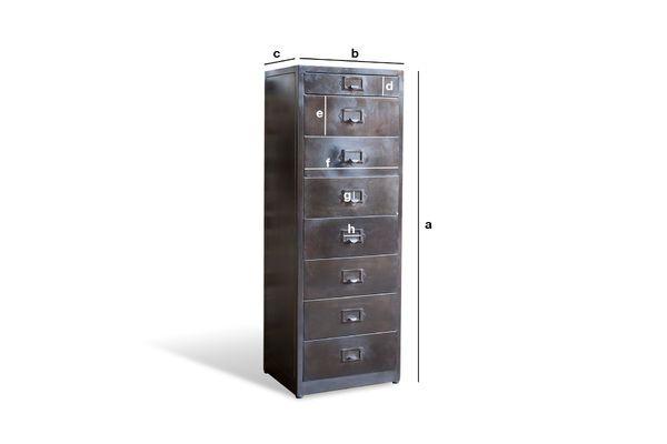 Dimensioni del prodotto Cassettiera in metallo con 8 cassetti Terex