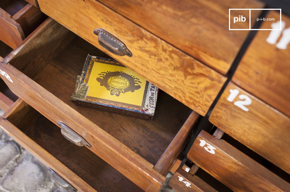 Questo mobile dai diversi cassetti costituisce un pezzo di arredamento dallo stile innegabile