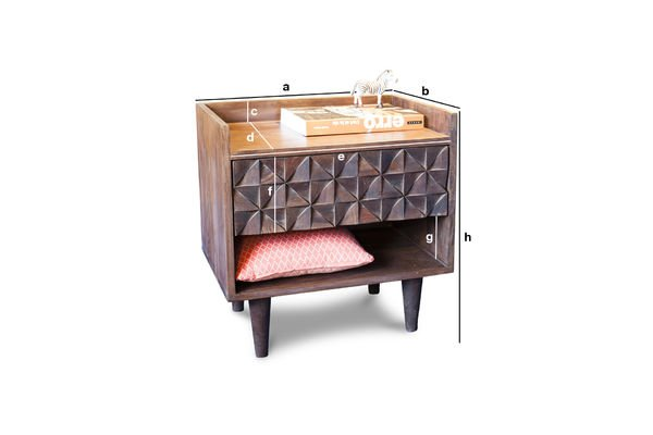 Dimensioni del prodotto Comodino in legno Balkis
