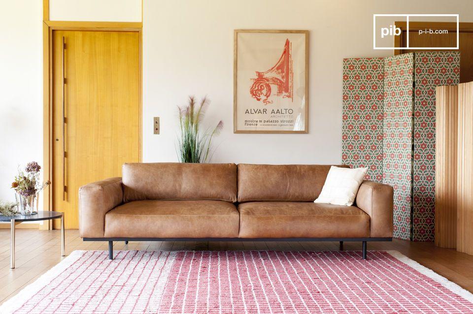 Divano 3 posti Almond marrone - Un divano a tre posti in | pib
