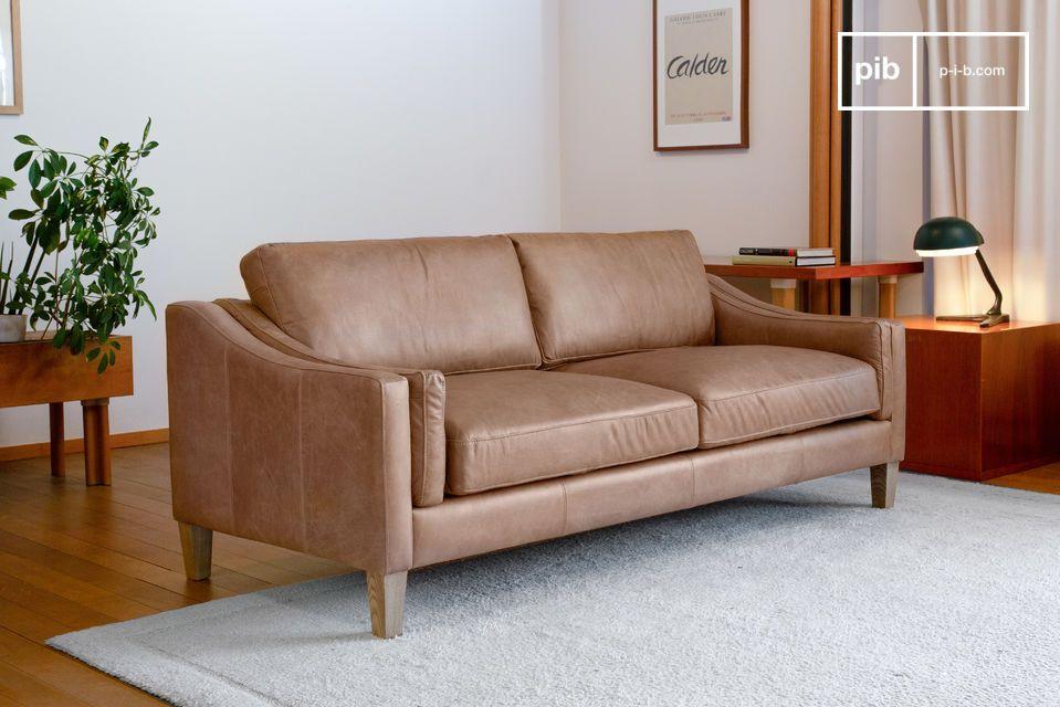 Grande divano in pelle pieno fiore color sabbia