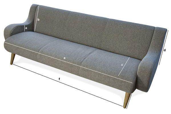 Dimensioni del prodotto Divano Geneva a tre sedili