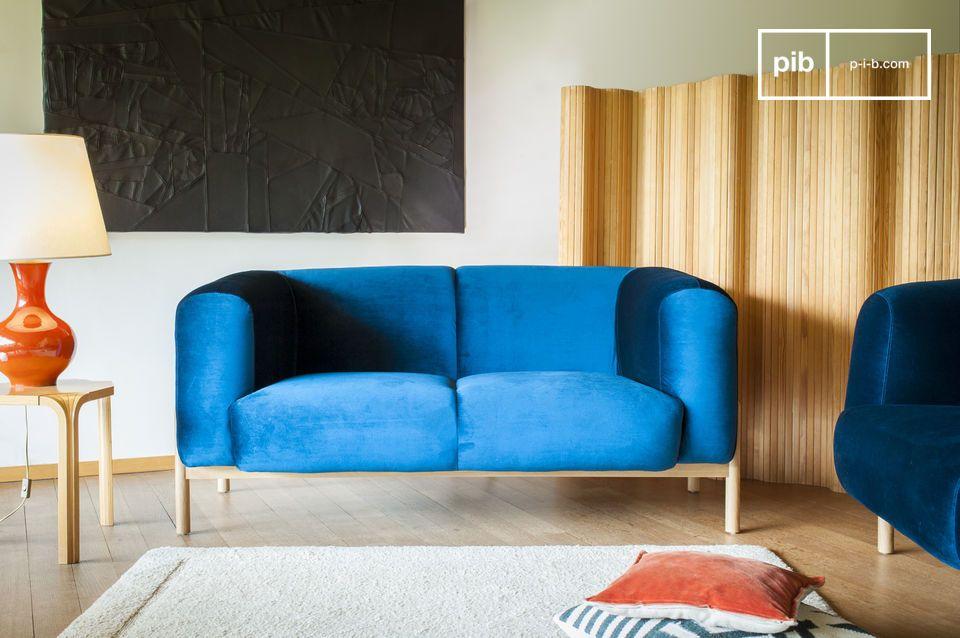 Divano in velluto viela uno spirito scandinavo retro pib for Divano velluto blu