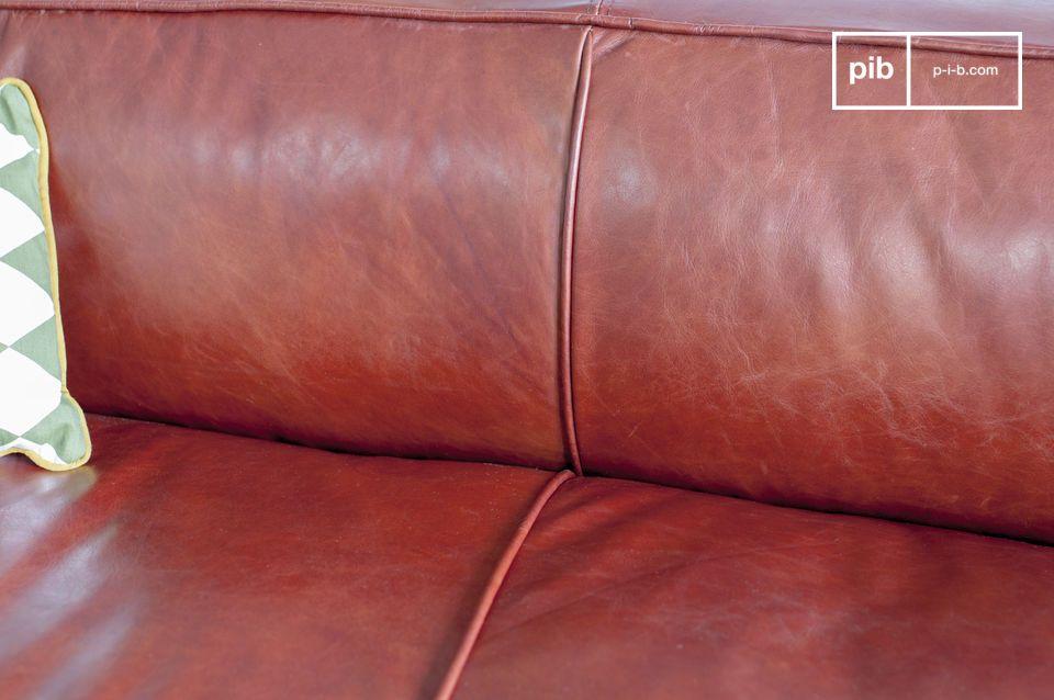 Il colore del divano di un particolare marrone con un\'applicazione sul rosso-arancio