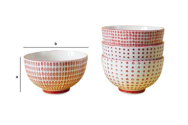 Dimensioni del prodotto Ensemble di 4 ciotole rosse a pois