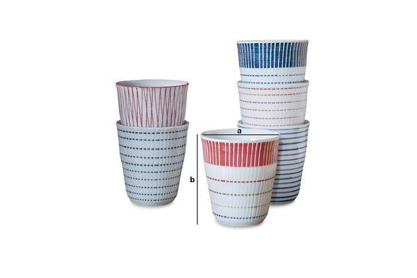 Dimensioni del prodotto Ensemble di 6 tazze in porcellana Grite