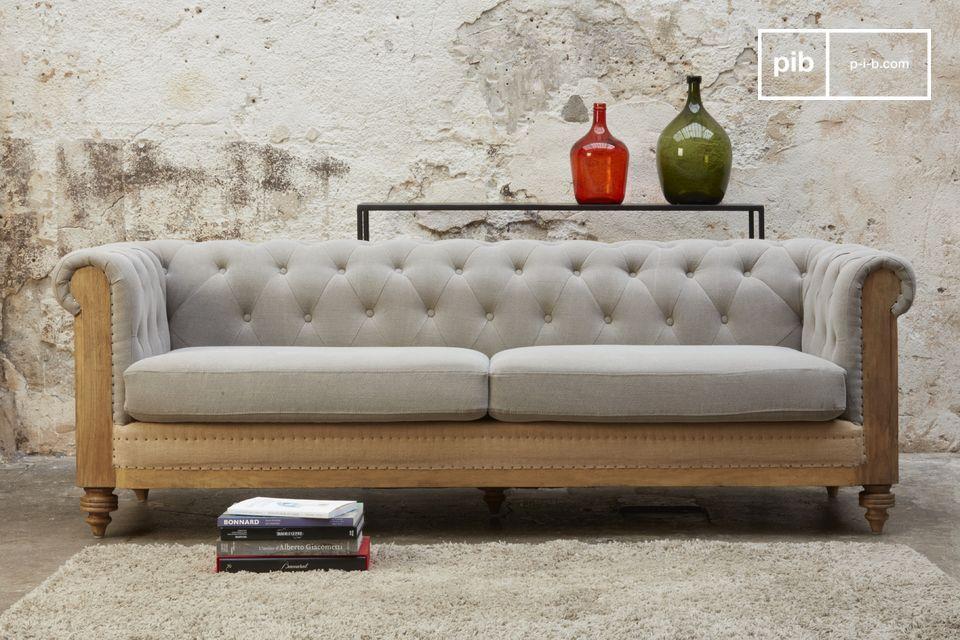 Divano Lino Grezzo : Grande divano chesterfield montaigu grigio pib