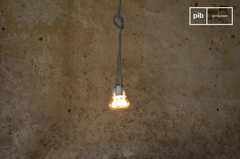 Attacco per lampadina in ceramica e cavo retrò lunghezza 3m