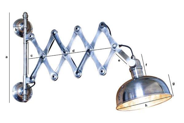 Dimensioni del prodotto Lampada da parete a forbice