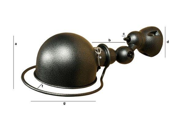 Dimensioni del prodotto Lampada da parete Jieldé Loft con finiture battute