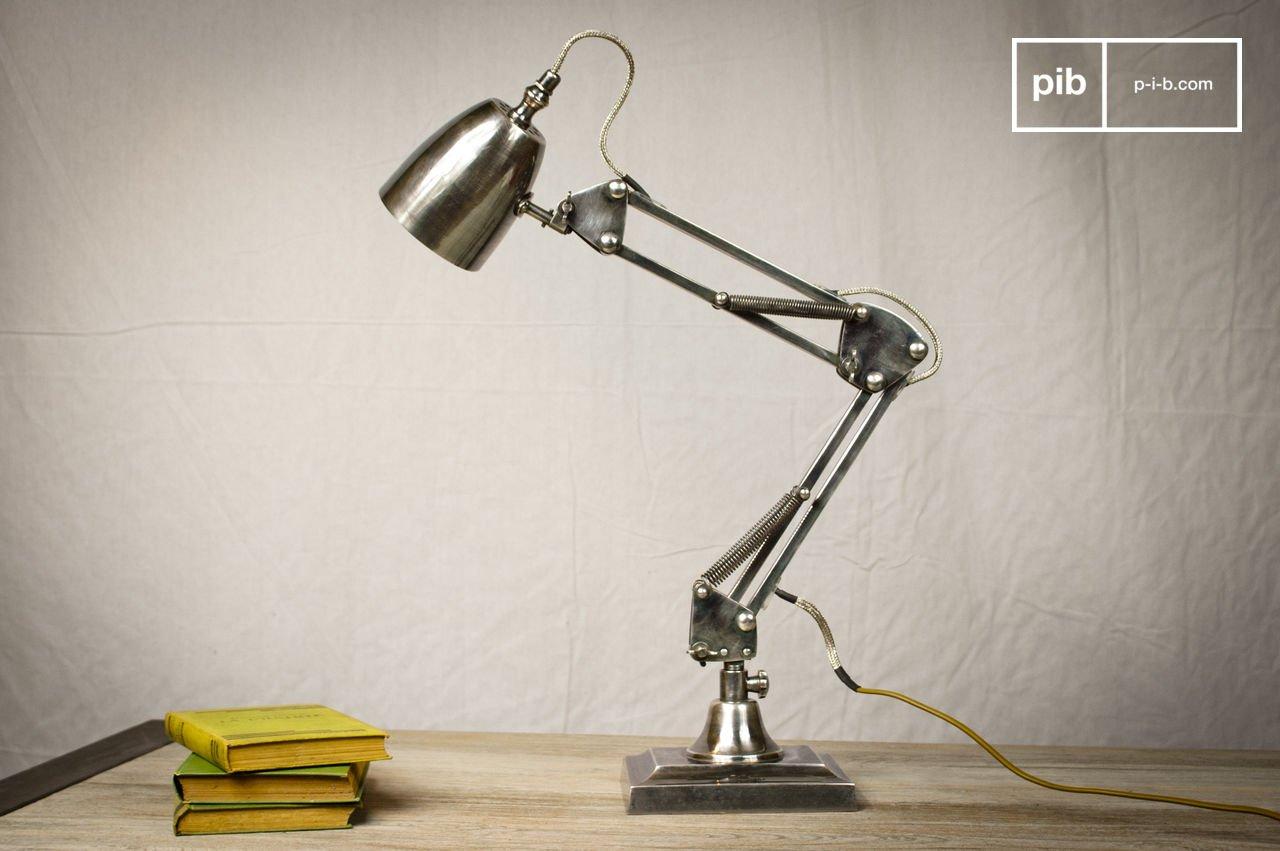 Lampada da scrivania in ottone argentato pib
