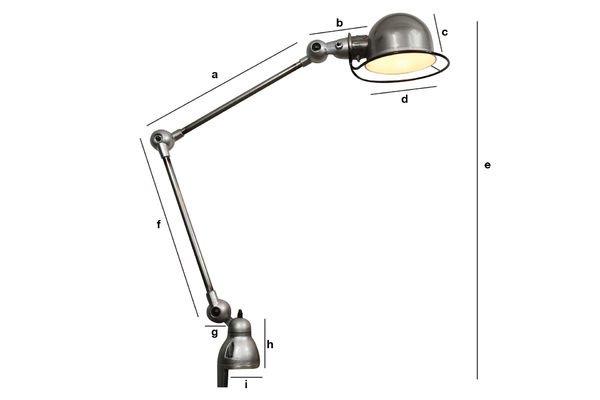 Dimensioni del prodotto Lampada Jieldé Loft con morsa