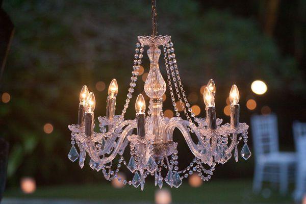 lampadario con cristalli per esterni