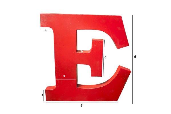 Dimensioni del prodotto Lettera E decorativa