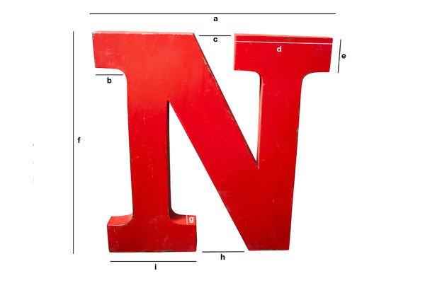 Dimensioni del prodotto Lettera N