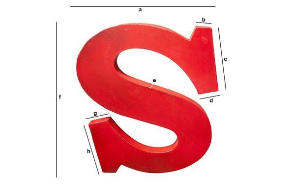 Dimensioni del prodotto Lettera S decorativa