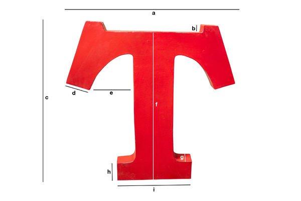 Dimensioni del prodotto Lettera T decorativa