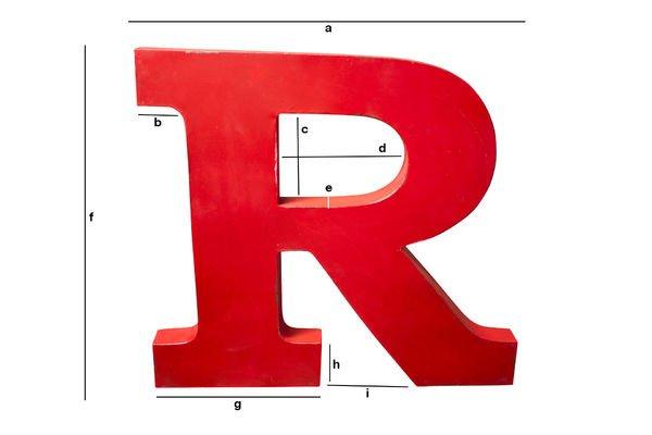 Dimensioni del prodotto Lettra R decorativa