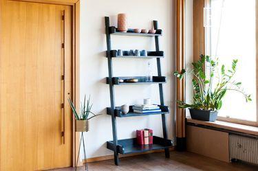 Librieria in legno nero a grande scala