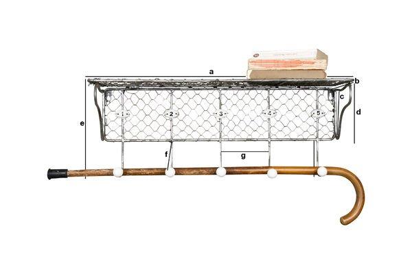 Dimensioni del prodotto Mensola a griglia con ganci numerati