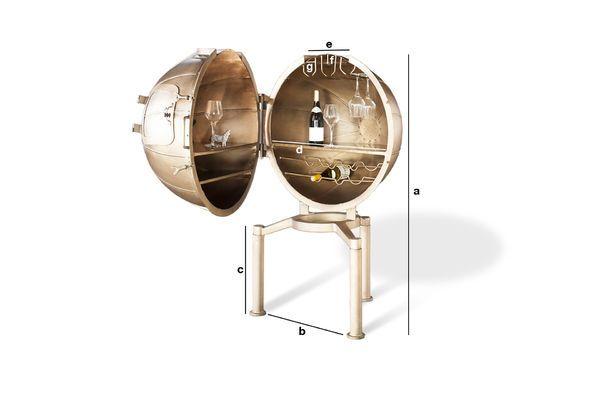 Dimensioni del prodotto Minibar globo Jules Verne