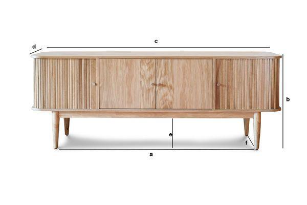 Dimensioni del prodotto Mobile Tv Ritz con tendine in legno