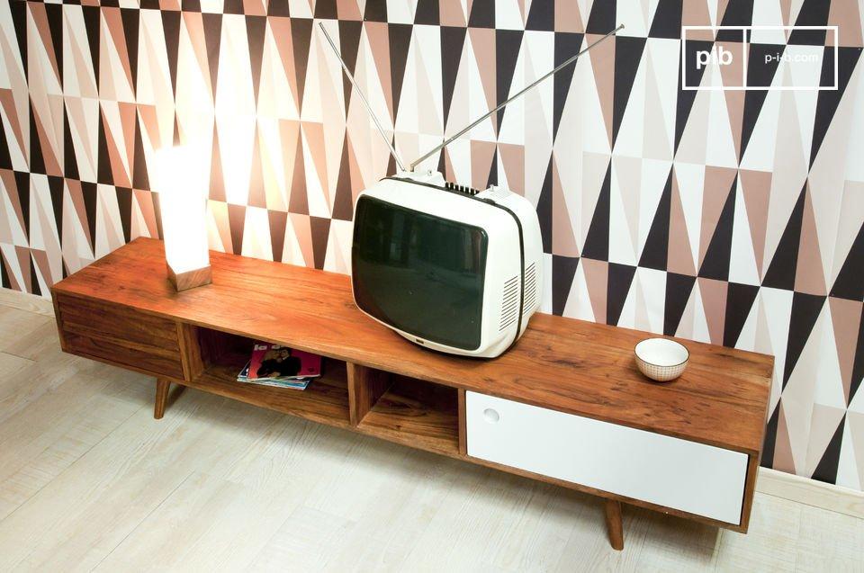 Design anni '50, interamente in solido legno di acacia