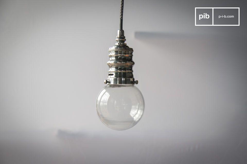 Piccola lampada a sospensione argentata Darwin
