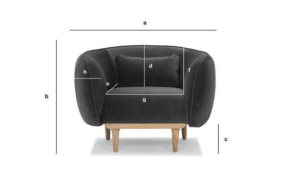 Dimensioni del prodotto Poltrona arrotondata Olson