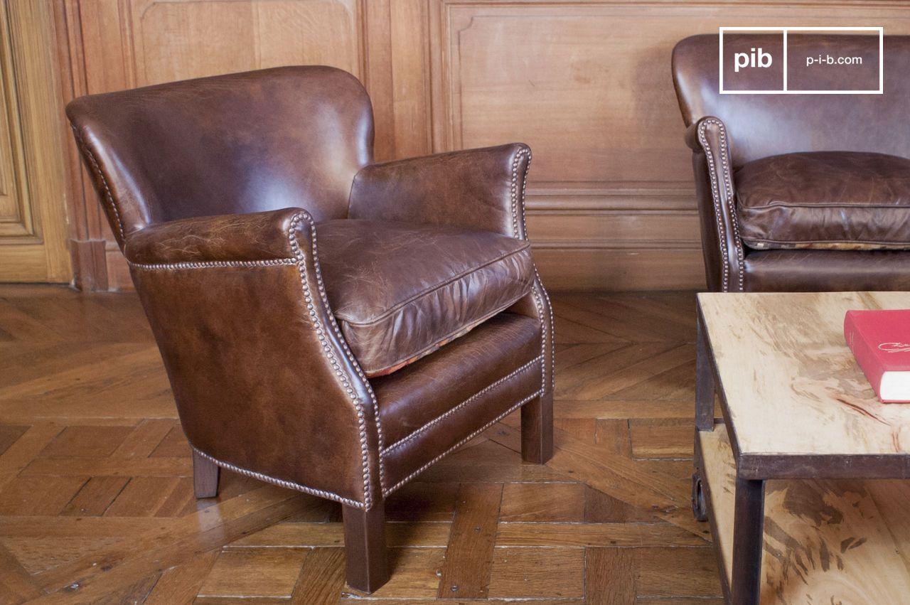 Poltrona in pelle Turner - In stile vintage | pib