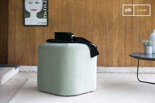 Pouf in velluto verde Skagen