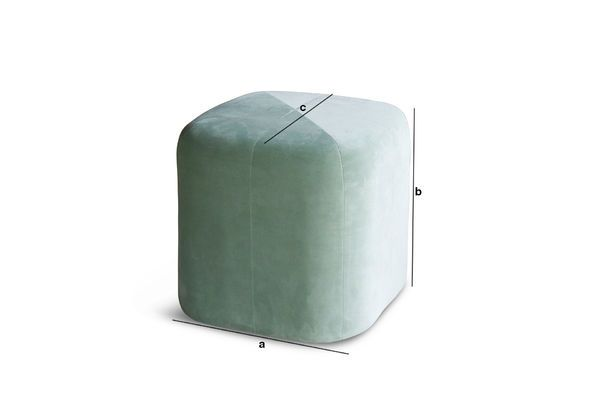 Pouf in velluto verde skagen appoggio angoli arrotondati pib