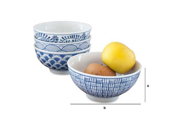 Dimensioni del prodotto Quattro ciotole in porcellana Blue Lagoon