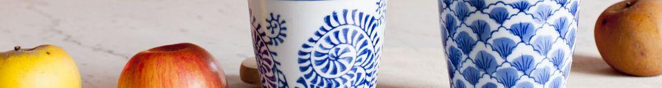 Materiali prima di tutto Quattro tazze in porcellana Blue Lagoon