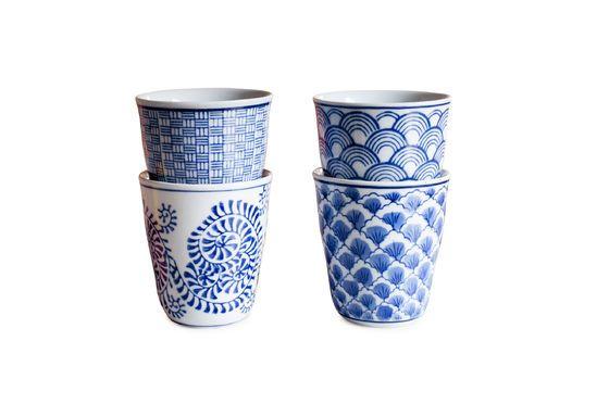 Quattro tazze in porcellana Blue Lagoon Foto ritagliata