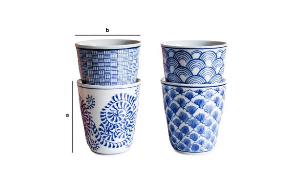Dimensioni del prodotto Quattro tazze in porcellana Blue Lagoon