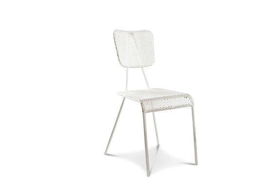 Sedia bianca m talo metallo e linee dritte design pib for Sedia design bianca