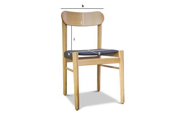 Dimensioni del prodotto Sedia in legno chiaro Elena