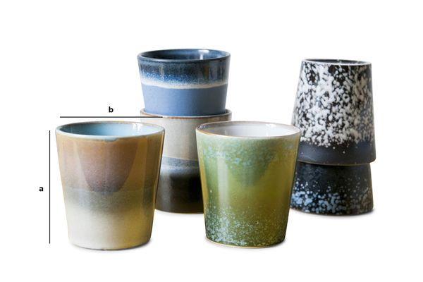 Dimensioni del prodotto Sei tazzine da caffé Ceramix
