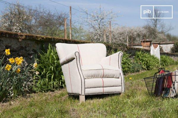Sessel aus weißem Leinen Fontaine